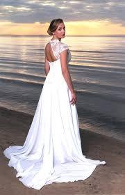 boho vintage inspired a line chiffon wedding dress with illusion