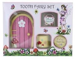 tooth fairy gift pink tooth fairy gift set with tooth box fairy door sign