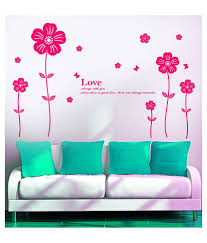 wall stickers for bedrooms snapdeal wall stickers cafe eat and stylish pink flower pvc wall stickers available at snapdeal for rs249