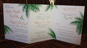 palm tree wedding invitations orange and green palm leaves trifold wedding invitations