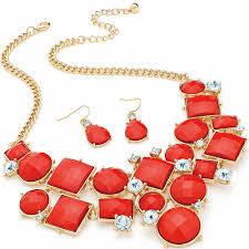 chunky necklace set images Women 39 s gold plated chunky diamante crystal red faceted imitation jpg