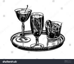 vintage martini clipart tray cocktails retro clip art stock vector 57057721 shutterstock