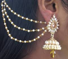 earring chain necklace images Buy yellow drop jhumka with pearl ear chain earring online jpg