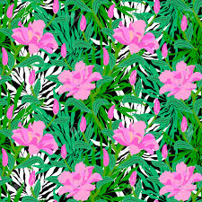 vector seamless floral pattern with tropical decor big pink