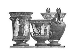 ornamental bowls made in greece antique engraving stock vectors