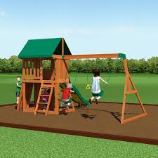 kids wooden playset cedar outdoor backyard swing slide rock