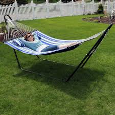 sunnydaze quilted double fabric 2 person hammock with multi use