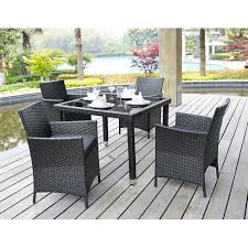wicker dining room chairs amazon com 5 piece outdoor patio dining set with cushions uv