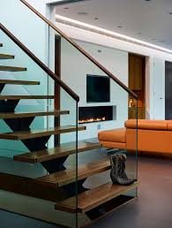 beautiful stair treads in staircase contemporary with pop ceiling