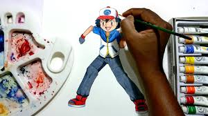 how to draw ash from pokemon youtube
