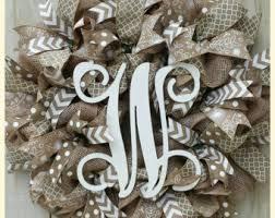 monogram wreath monogram door wreath etsy