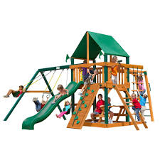 gorilla playsets navigator with timber shield and deluxe green