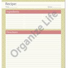 recipe card full page recipe template printable pdf crafts