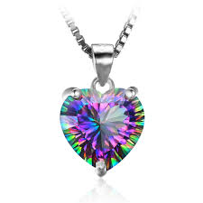 topaz necklace pendant images 4 35ct genuine rainbow fire mystic topaz necklace heart pendant jpg