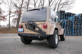 jeep rear bumper with tire carrier jeep tj tire carrier 97 06 tj lj rear shield jcr offroad asap
