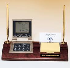 this 506 executive desk set includes a calculator with a clock