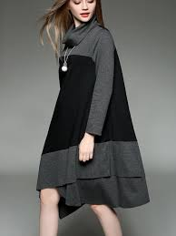 long sleeve turtleneck casual asymmetrical midi dress stylewe com