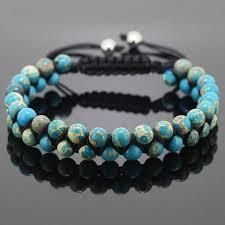 macrame bracelet with beads images Macrame bracelet men and women jewelry 6mm blue sea sediment jpg