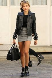 moto style jacket hailey baldwin street style hailey baldwin leather jacket