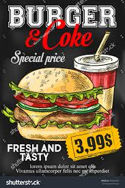 fast food burger coke price card stock vector 709565578 shutterstock