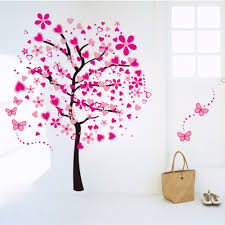online get cheap pink wall decal aliexpress com alibaba group large romantic pink peach tree butterfly wall stickers mural rustic home decor living room bedroom art