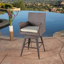amazon com tustin wicker outdoor swivel arm bar stool home u0026 kitchen