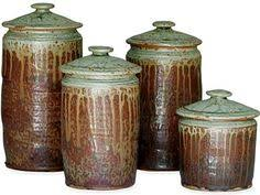 pottery canisters kitchen made to order kitchen set of 3 canisters brown with blue gray