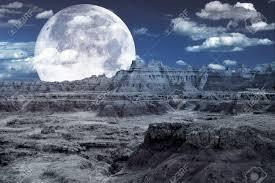 Bad Lands Bad Lands Fantasy Rocky Mond ähnliche Landschaft Und Riesige