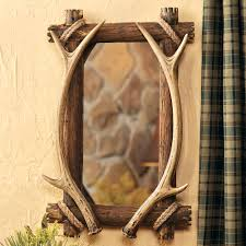 antler u0026 wood mirror for bathroom vanity in a rustic hunting theme