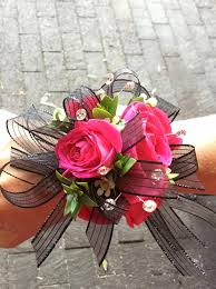 flower corsage hot pink black wrist corsage in pleasanton ca alexandria s