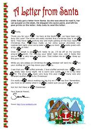letters from santa claus a letter from santa claus worksheet free esl printable worksheets