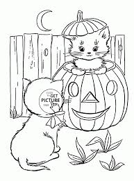 Halloween Printables Free Coloring Pages Cute Halloween Cats Coloring Pages For Kids Pumpkin Printables