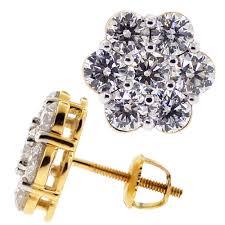 gold stud diamond cluster flower stud earrings 14k yellow gold 3 1 ct