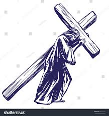jesus christ son god carries cross stock vector 584117110