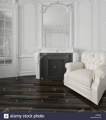 White Wall Paneling by Classic White Living Room Interior With A Large Overmantel Mirror