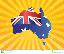Flag Yellow Sun Australia Flag In Map Silhouette On Sun Rays Stock Vector