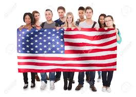 Flag People Happy People Holding American Flag Against White Background Stock