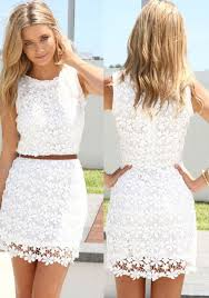 white summer dresses white floral hollow out bodycon hip package crochet