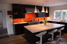 Black Kitchen Backsplash Black And Orange Kitchens Black Palm Kitchen Orange Glass Tile