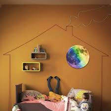 Glow In The Dark Home Decor 30cm Colorful Large Moon Wall Sticker Removable Glow In The Dark