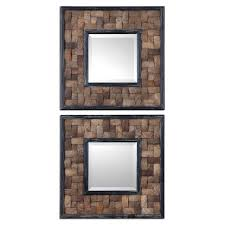 Home Decor Mirrors Set 2 Mirror Frame Made Coconut Shell Layered Basket Weave Home