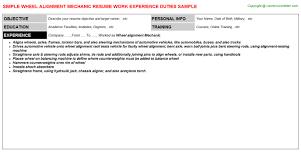 Mechanic Resume Samples by Wheel Alignment Mechanic Resume Sample