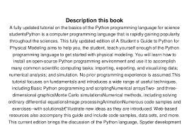 python tutorial ebook free a student s guide to python for physical modeling ebook