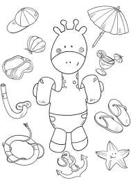 baby giraffe on the beach coloring page free printable coloring