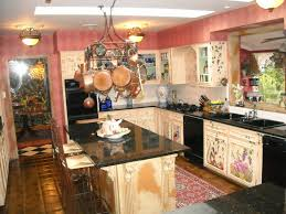 vintage u shaped kitchen unit with wooden cabinets faced french