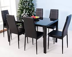 amazon com merax 7 piece glass top dining set table u0026 chair sets