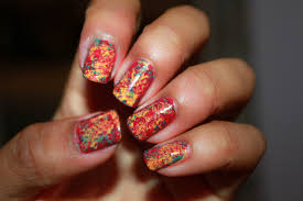 eesh multi coloured saran cling wrap nails
