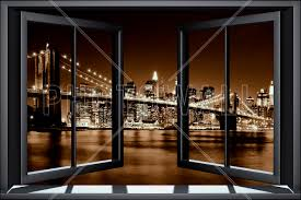 city wallpaper wall murals photowall com wall mural brooklyn bridge through window yellow