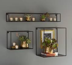 wall display cube display shelves bronze finish pottery barn
