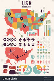 America Map With States by United States America Map Infographics Elements Stock Vector